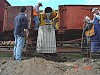On Saturday the 23rd July, 2005 a number of point rodding compensator and crank bases were concreted. The concrete mixer and materials were transported in a GY truck from Maldon in a special train hauled by F212. The train was lined up with each location and the concrete poured via an improvised 'shoot' into the holes - W.Maylor