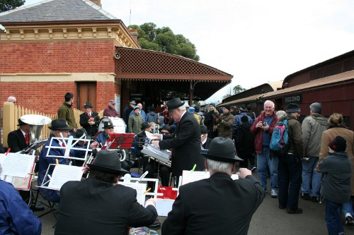 Band Welcome Train into Maldon Station